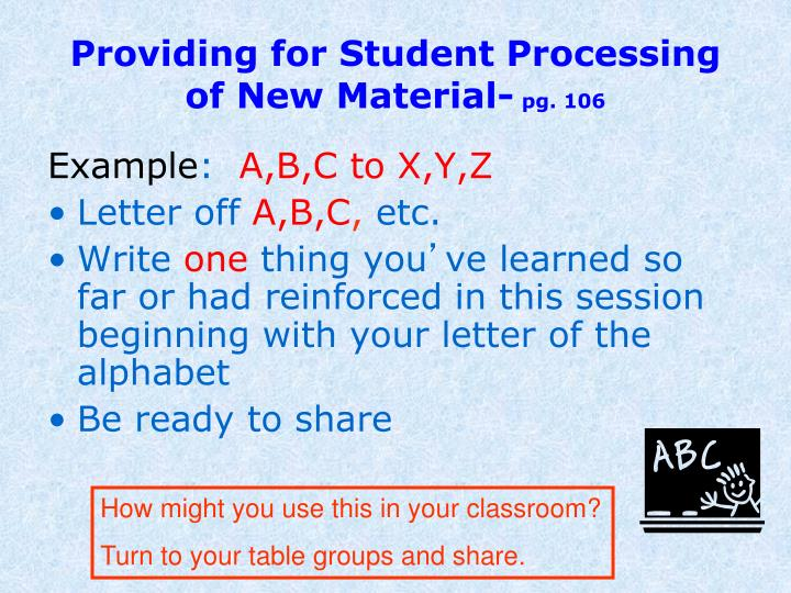 Providing for Student Processing of New Material-