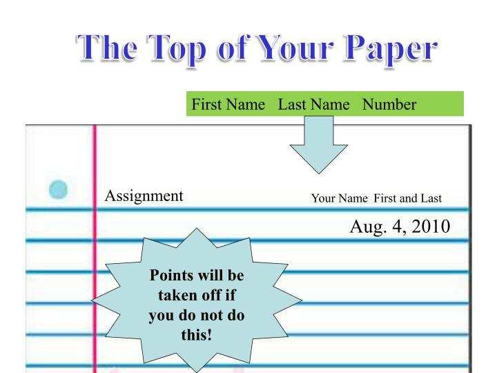 The Top of Your Paper