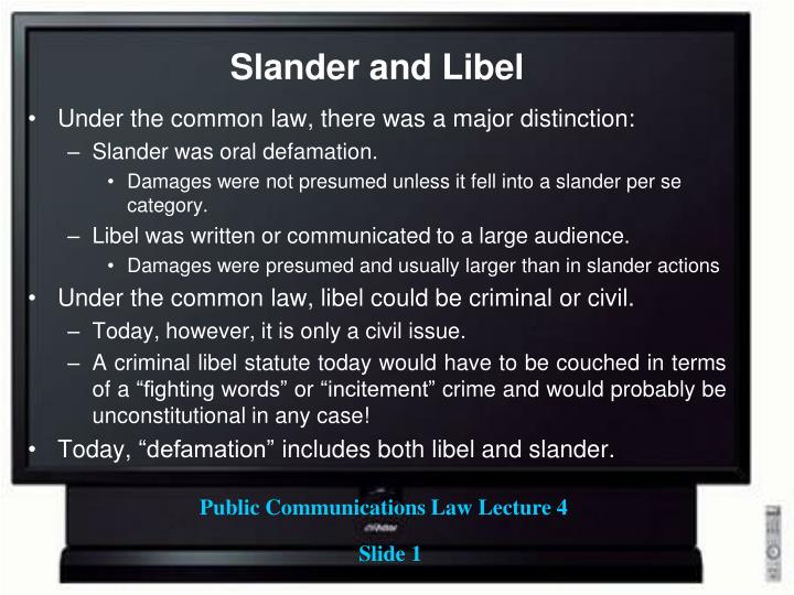 law of defamation The law of defamation is supposed to protect people's reputations from unfair attack in practice its main effect is to hinder free speech and protect powerful people from scrutiny.