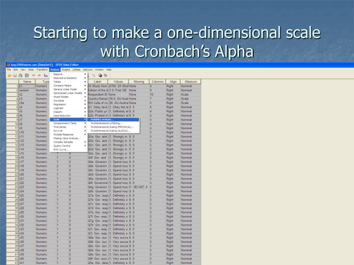 Starting to make a one dimensional scale with cronbach s alpha