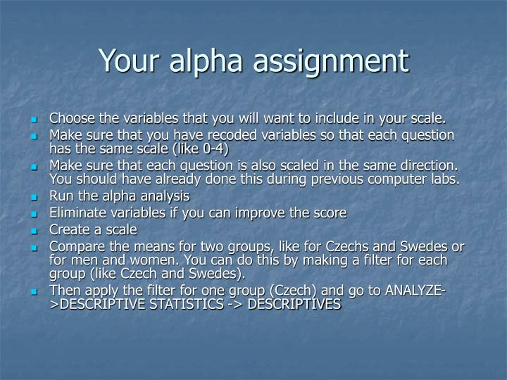 Your alpha assignment