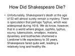 how did shakespeare die