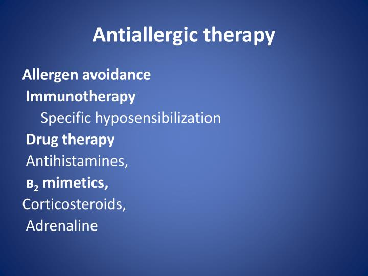Antiallergic therapy