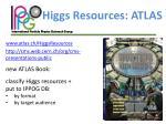 higgs resources atlas