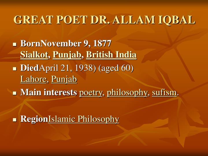 Great poet dr allam iqbal