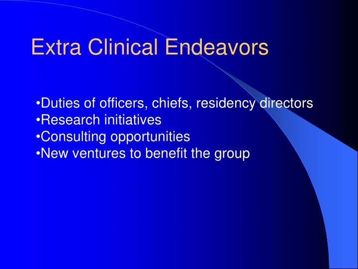Extra Clinical Endeavors