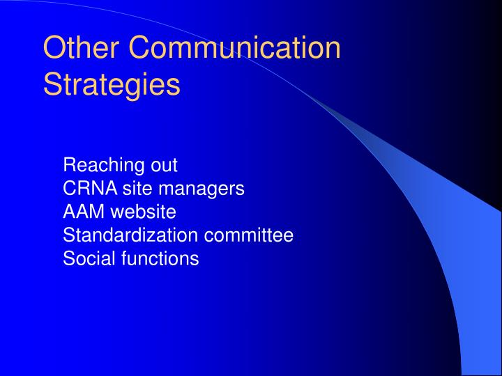 Other Communication Strategies
