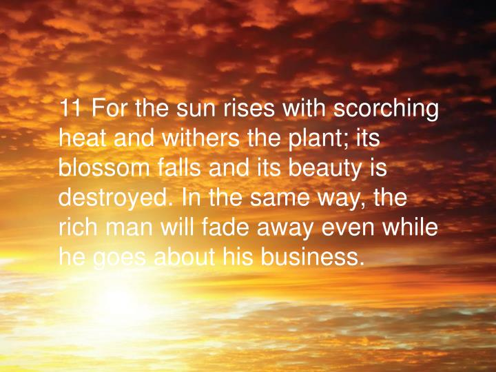 11 For the sun rises with scorching heat and withers the plant; its blossom falls and its beauty is destroyed. In the same way, the rich man will fade away even while he goes about his business.