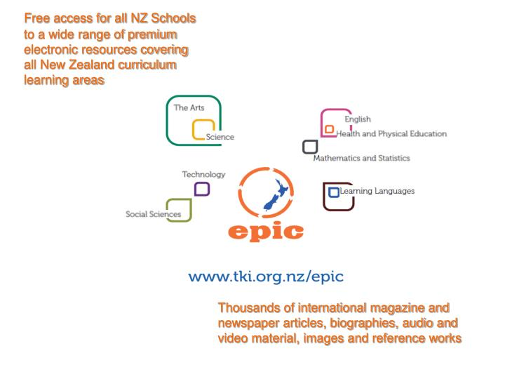 Free access for all NZ Schools to a wide range of premium electronic resources covering all New Zeal...