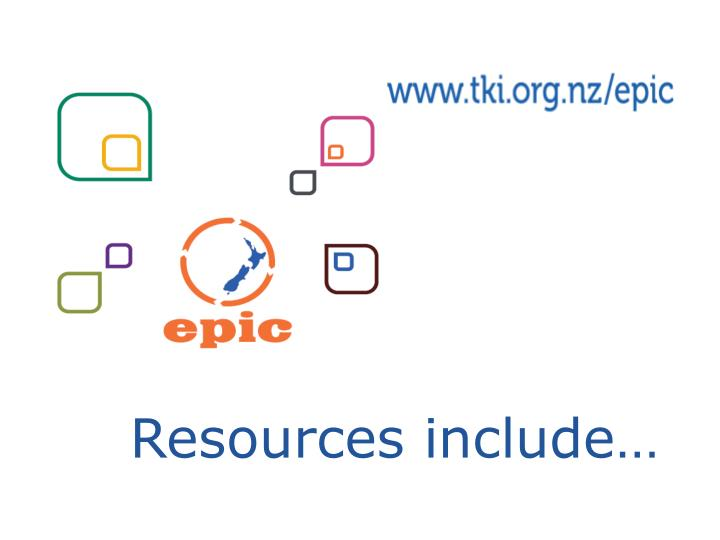 Resources include…