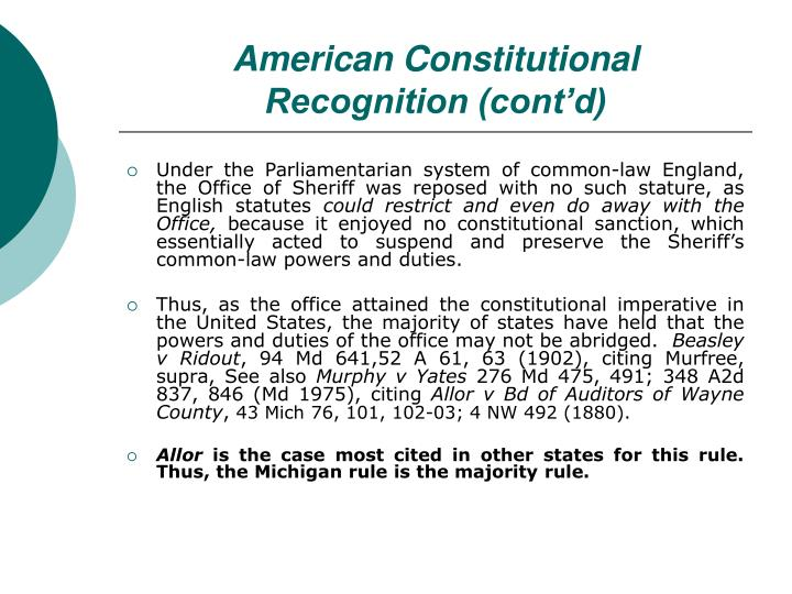 American Constitutional Recognition (cont'd)
