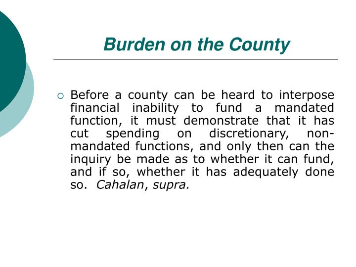 Burden on the County