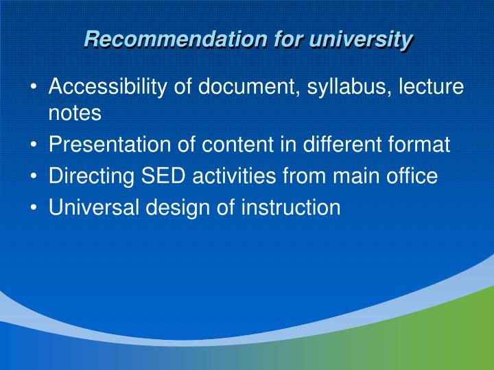Recommendation for university