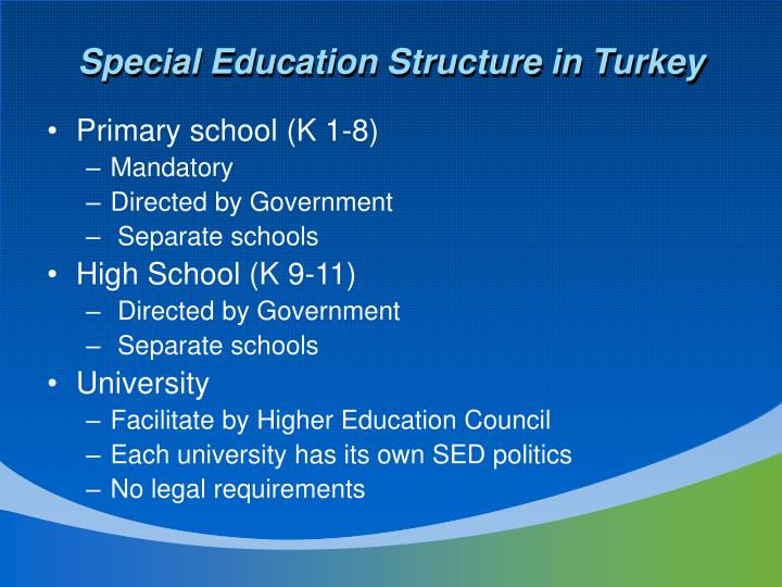 Special Education Structure in Turkey