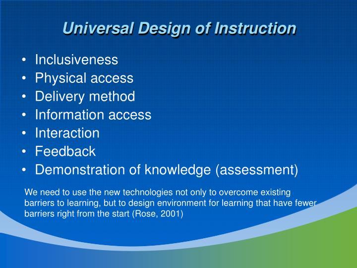 Universal Design of Instruction