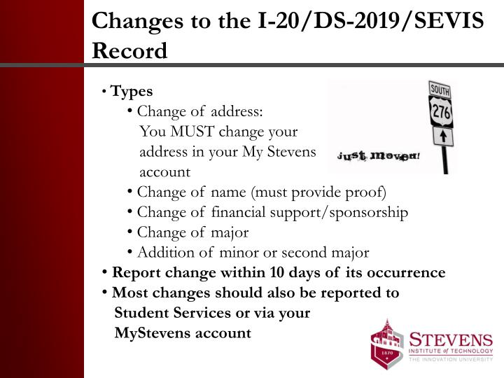 Changes to the I-20/DS-2019/SEVIS Record