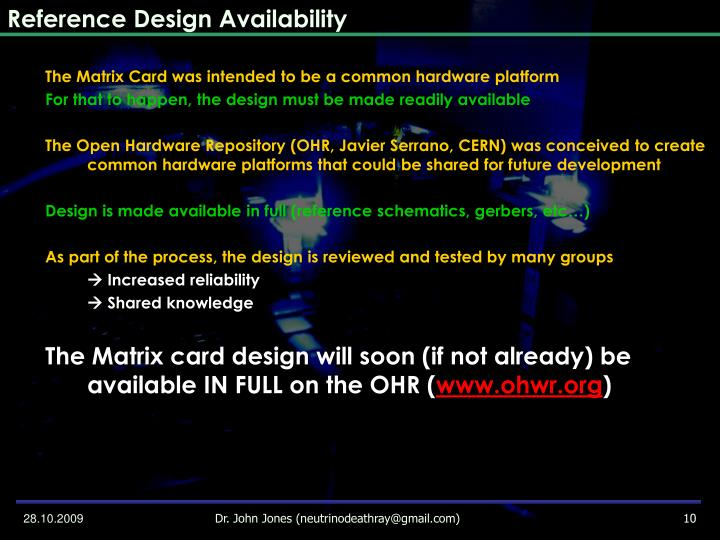 Reference Design Availability