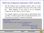 multi row subquery operators any and all