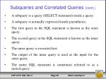 subqueries and correlated queries cont