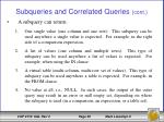 subqueries and correlated queries cont1