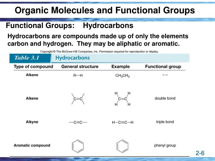 Organic Molecules and Functional Groups