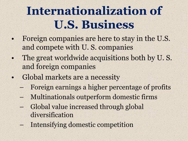 Internationalization of u s business