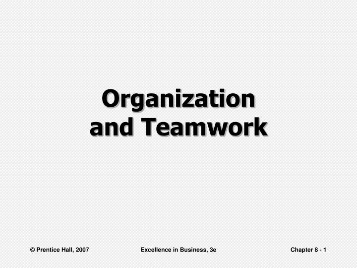 organization and teamwork n.