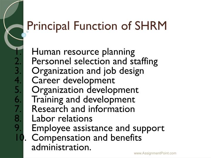 Principal Function of SHRM