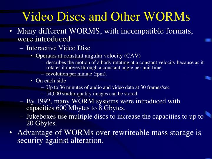 Video Discs and Other WORMs