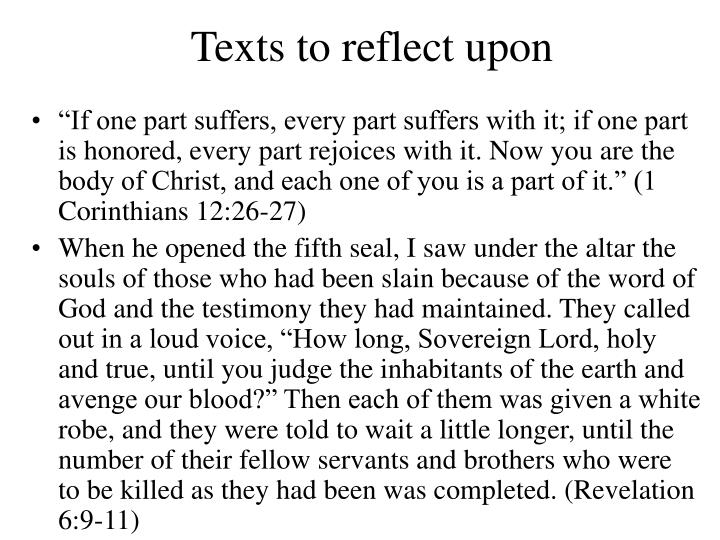 Texts to reflect upon