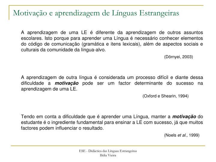 Motivação e aprendizagem de Línguas Estrangeiras