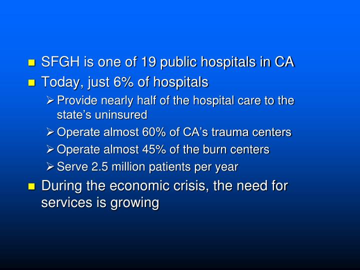 SFGH is one of 19 public hospitals in CA