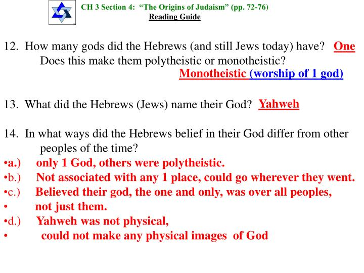 """CH 3 Section 4:  """"The Origins of Judaism"""" (pp. 72-76)"""