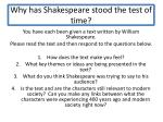 why has shakespeare stood the test of time
