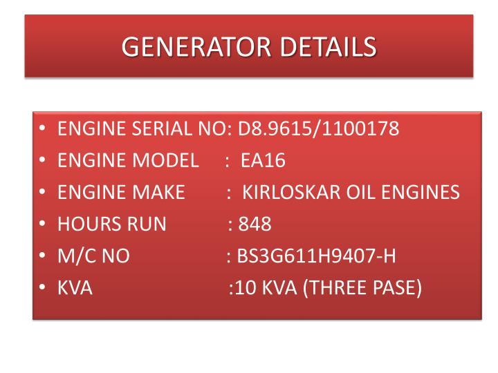 Generator details