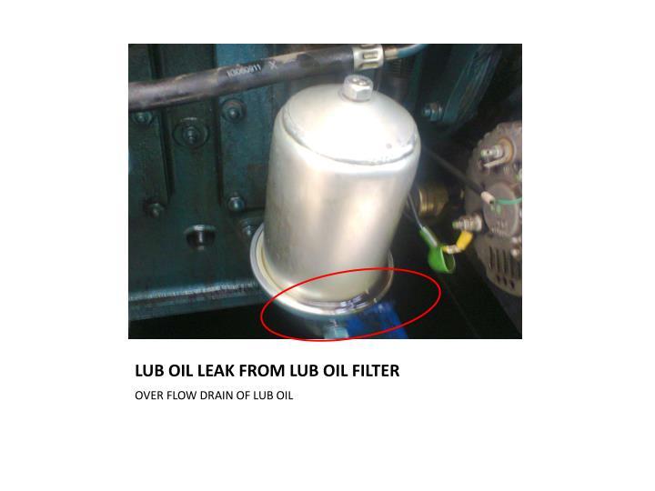 LUB OIL LEAK FROM LUB OIL FILTER