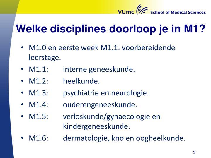 Welke disciplines doorloop je in M1?