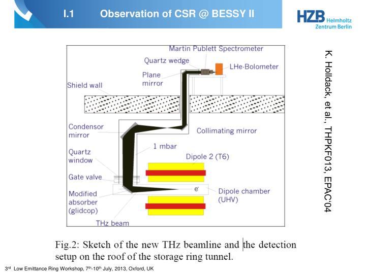 I 1 observation of csr @ bessy ii