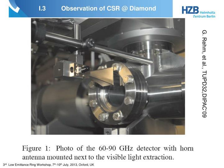 I.3Observation of CSR @ Diamond