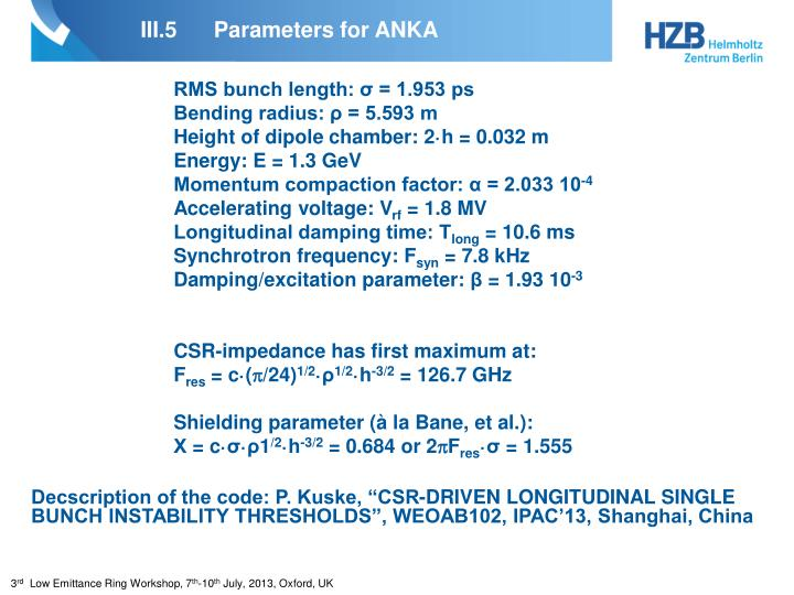 III.5Parameters for ANKA