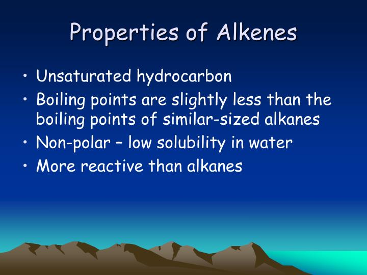 Properties of alkenes