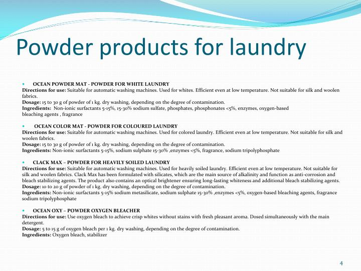 Powder products for laundry