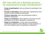 do how well can a decision process or assessment accept contributions