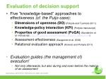 evaluation of decision support