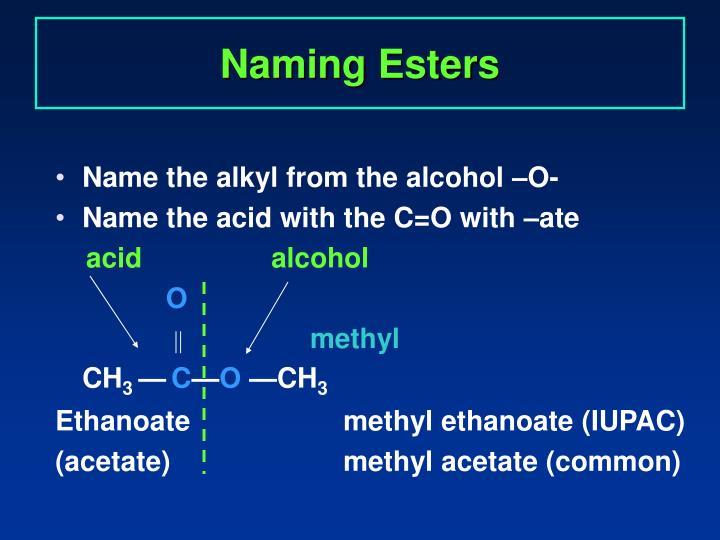 Naming Esters