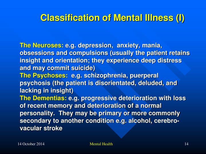 Classification of Mental Illness (I)