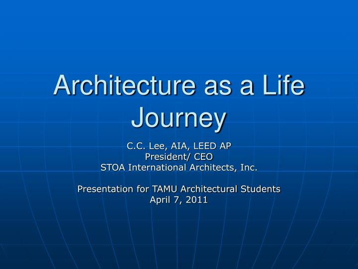 architecture as a life journey n.