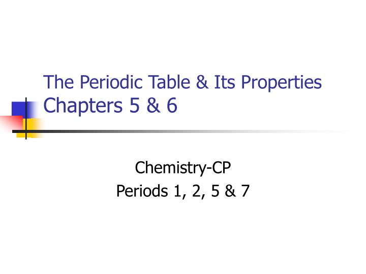 the periodic table its properties chapters 5 6 n.