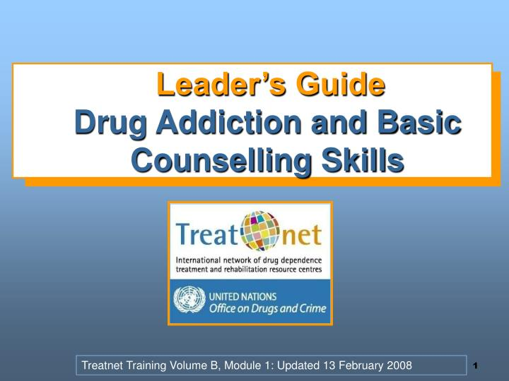 leader s guide drug addiction and basic counselling skills n.