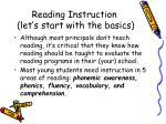 reading instruction let s start with the basics